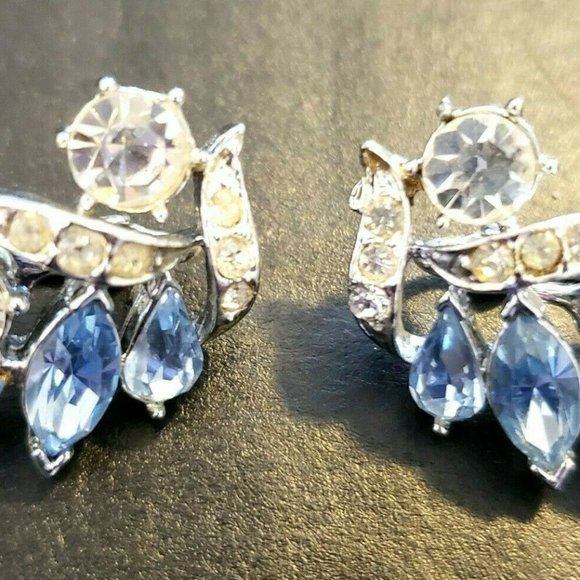 Blue Lucite Dome Earrings Lucite and Channel Set Rhinestone Earrings SilverGold Blue Button Earrings Vintage Coro Rhinestone Earrings